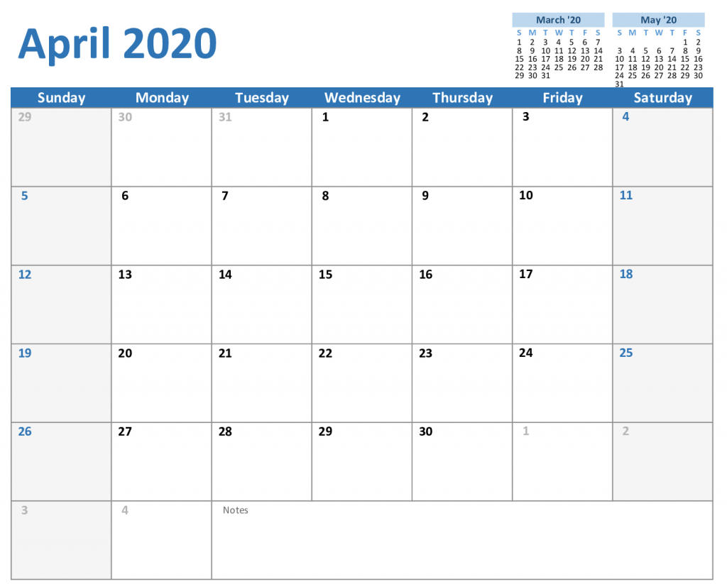 Free April Calendar 2020 Printable Editable In Pdf, Word 5 Day Monthly Calendar Template Word