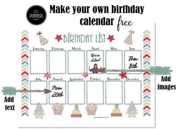 Free Birthday Calendar Template | Printable & Customizable Free Editable Birthday Calendar