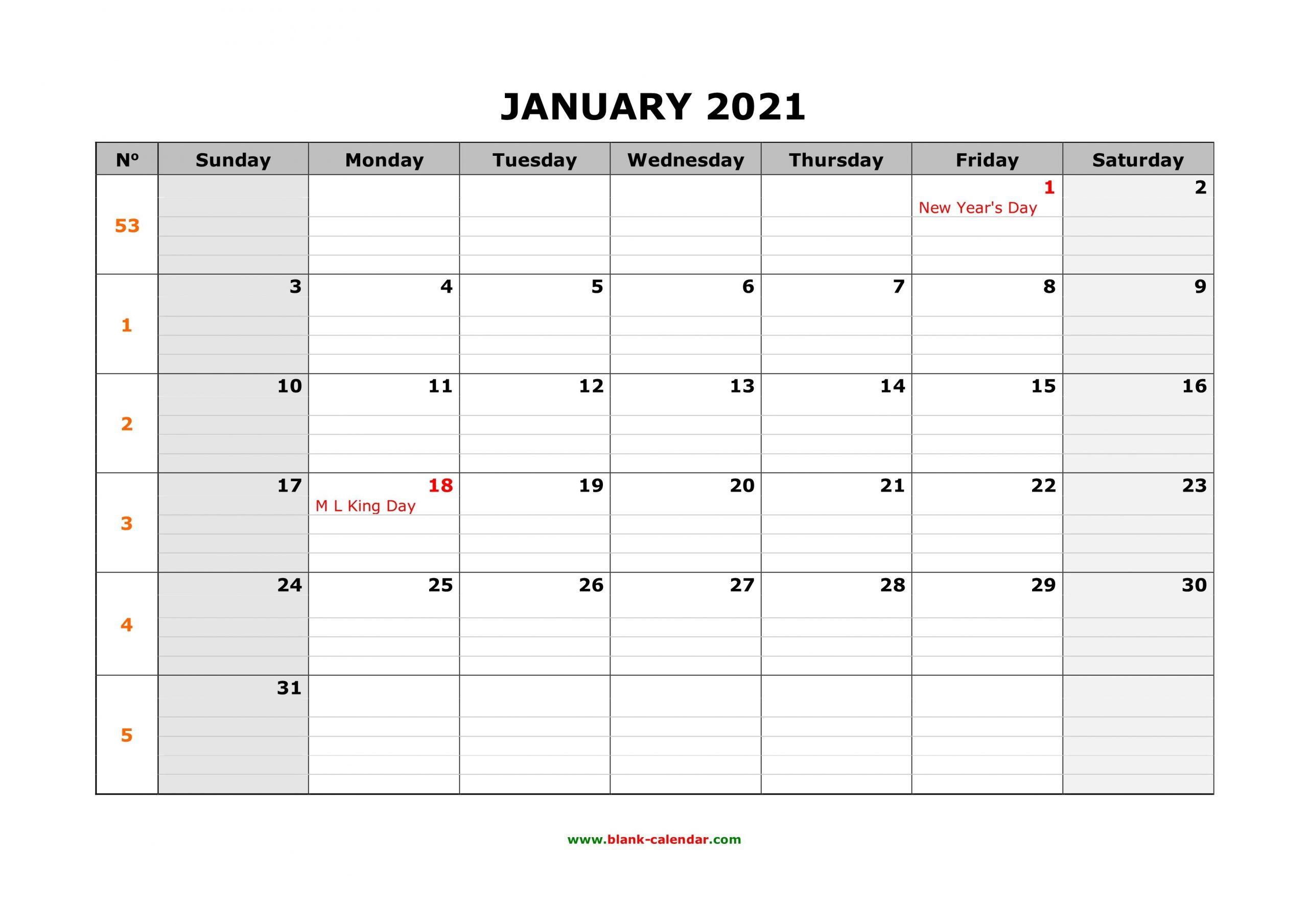 Free Download Printable Calendar 2021, Large Box Grid Blank Lined Calendar To Print