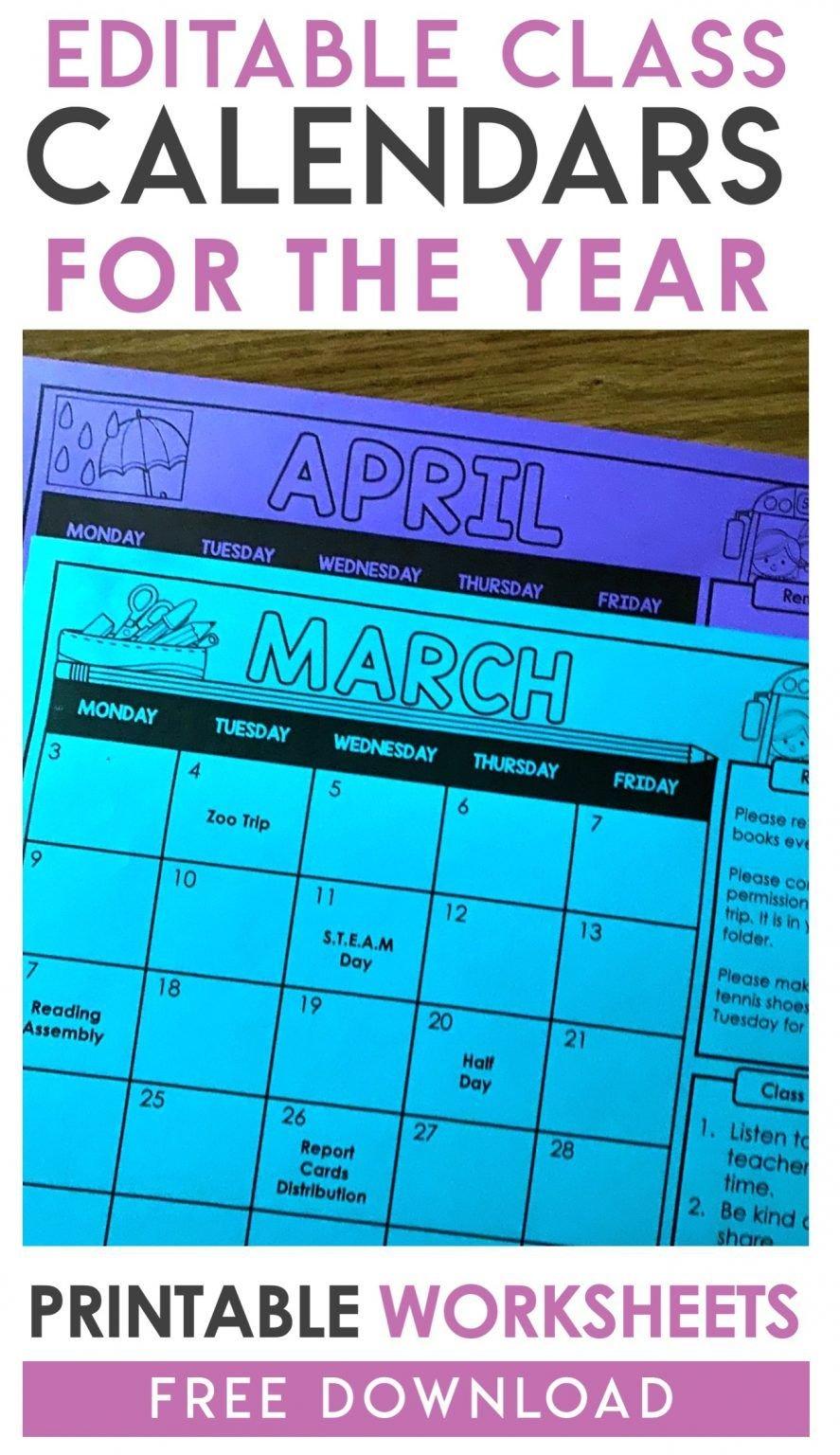 Free Editable Monthly Class Calendars In 2020 | Math Free Editable Preschool Calendar Template