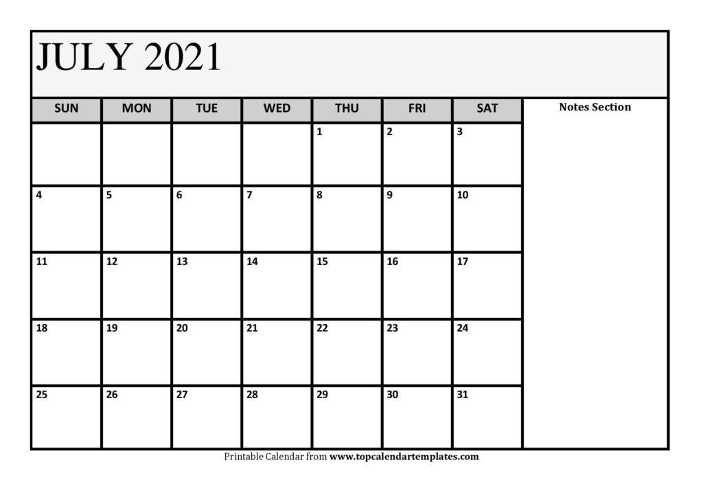 Free July 2021 Calendar Printable (Pdf, Word) Templates Free Printable Calendar With Notes