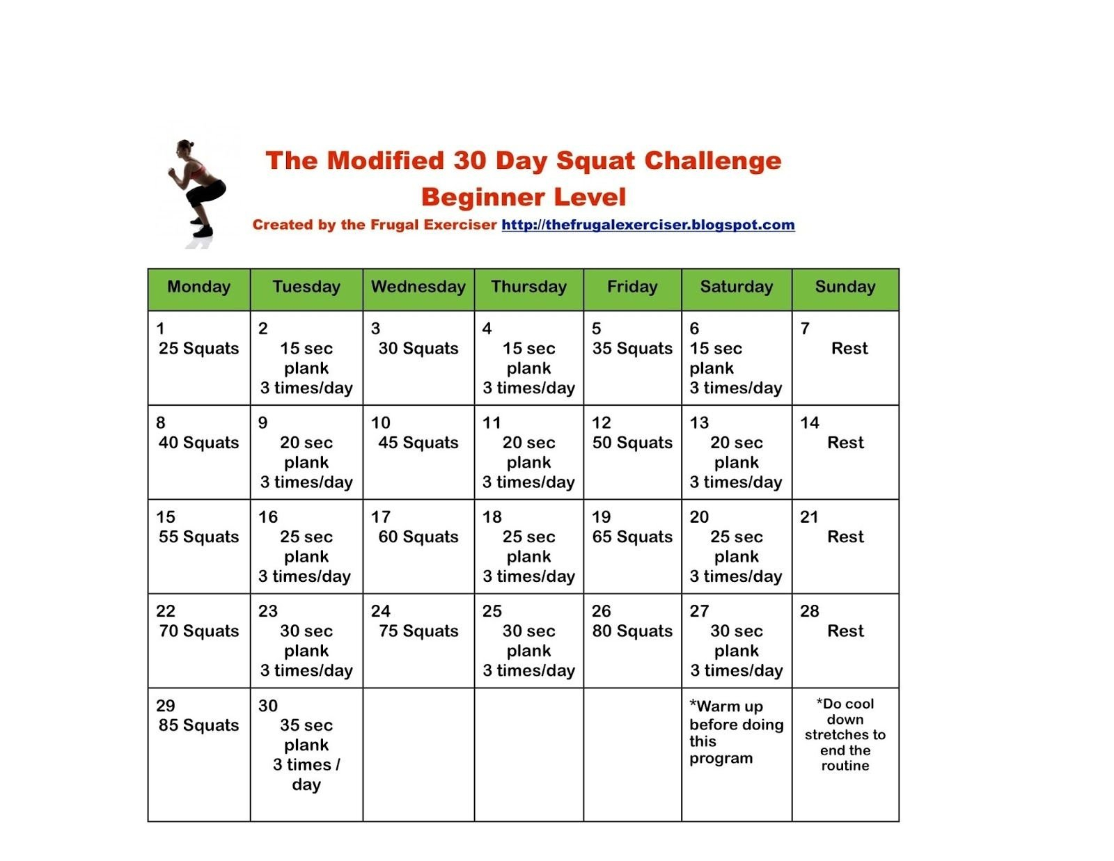 Free Plank 30 Day Challenge Excel | Get Your Calendar 30 Day Plank Challenge Printable Pdf