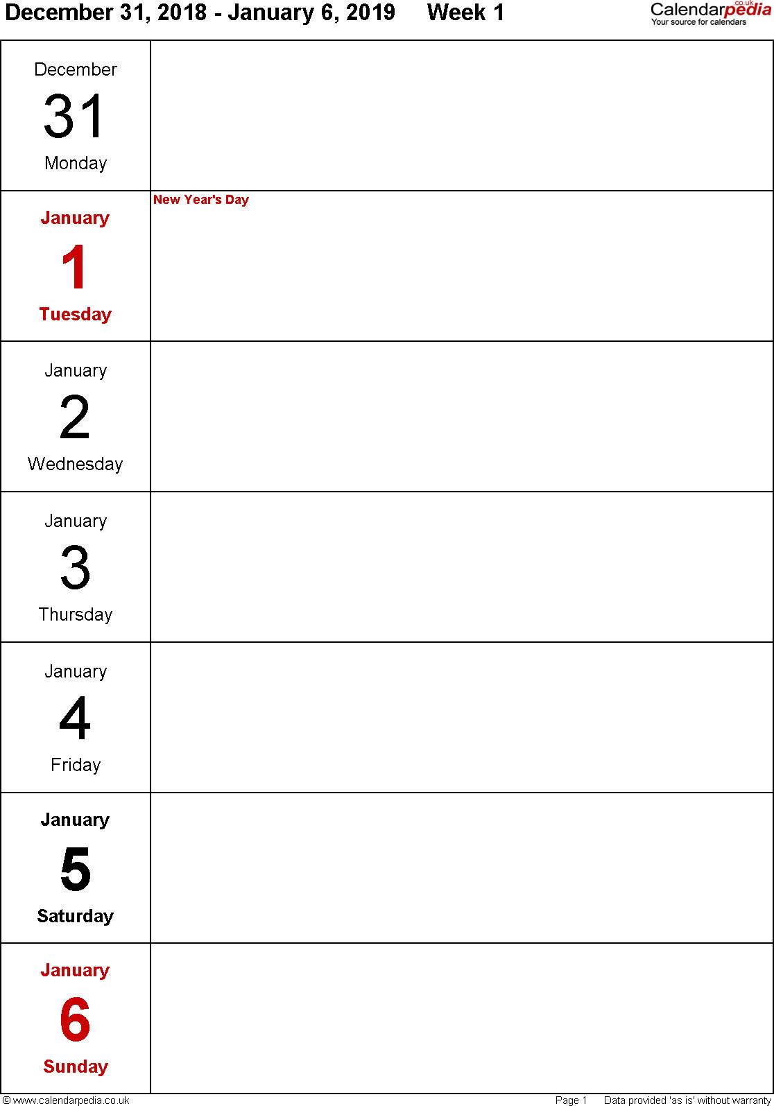 Free Printable 1 Week Calendar   Calendar Printables Free 1 Week Schedule Template