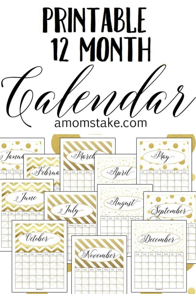 Free Printable 12 Month Calendar - A Mom'S Take Printable Calendar That You Can Fill In Color In The Blocks