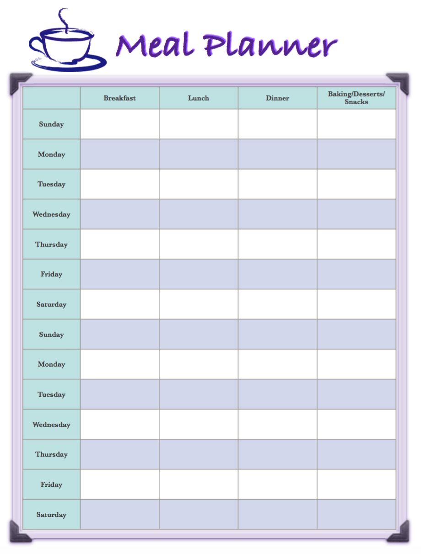 Free Printable 2-Week Meal Planners: 4 Different Designs Editable 2 Week Calendars