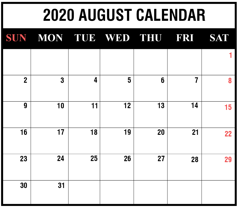Free Printable 2020 Calendar To I Can Edit - Calendar Free Calendar That I Can Edit