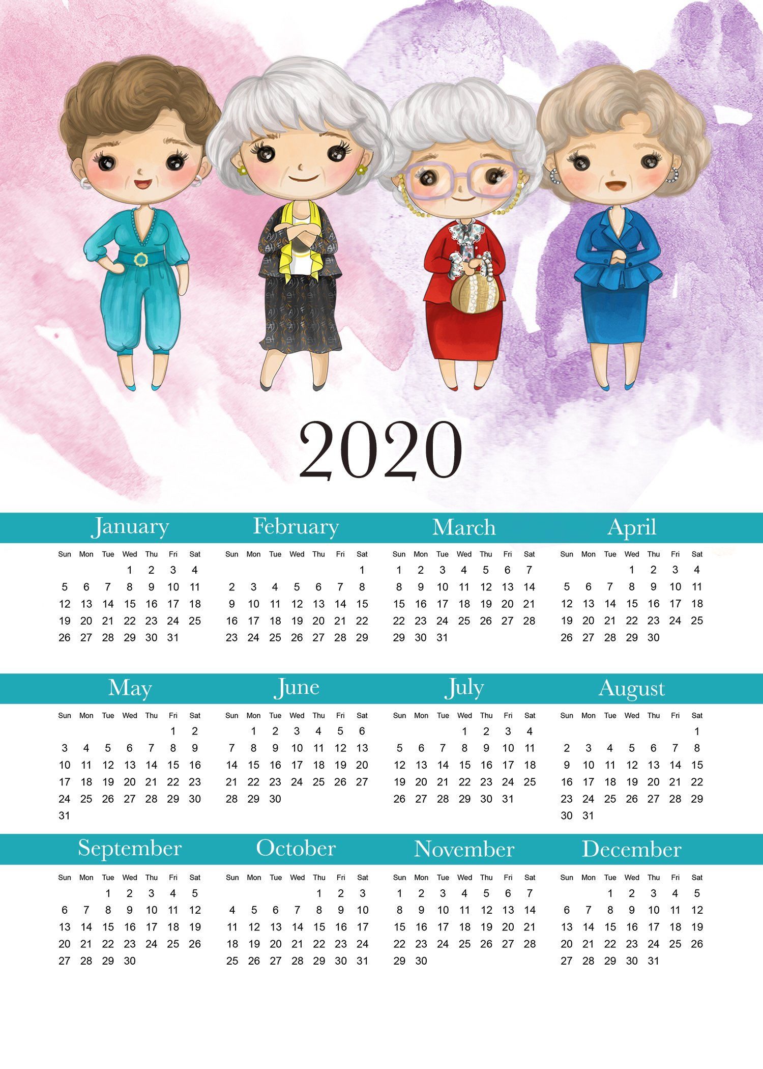Free Printable 2020 Golden Girls Calendar - The Cottage Market Free 2020 Checkbook Size Calendar Same Size As A Check For The Year