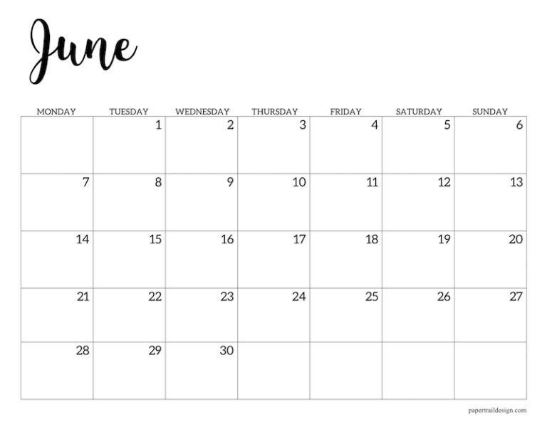 Free Printable 2021 Calendar - Monday Start   Paper Trail Hp Free Calander Templates