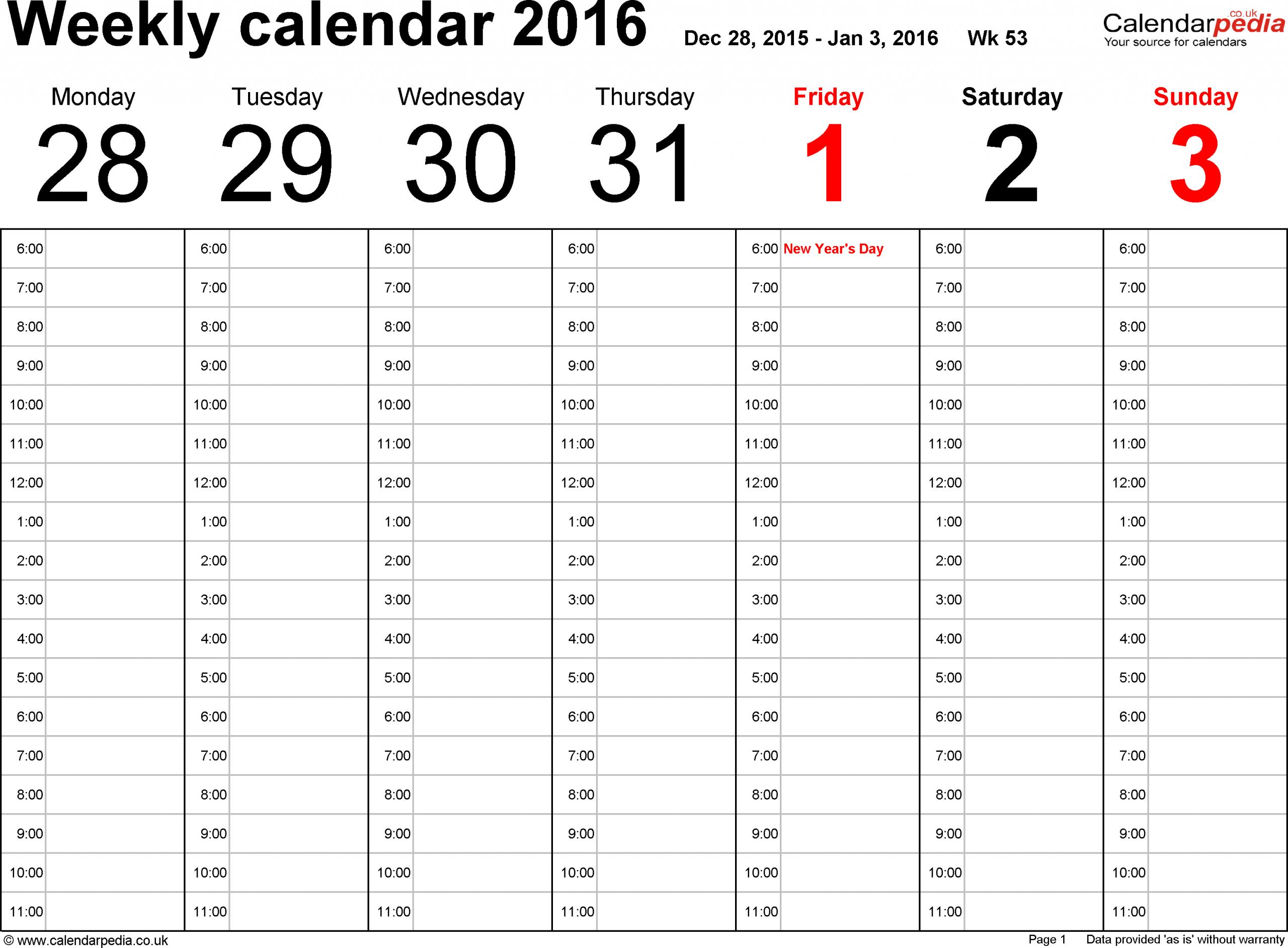 Free Printable 52 Week Calendar | Calendar Printables Free Printable Two Week Calendar Pages Free