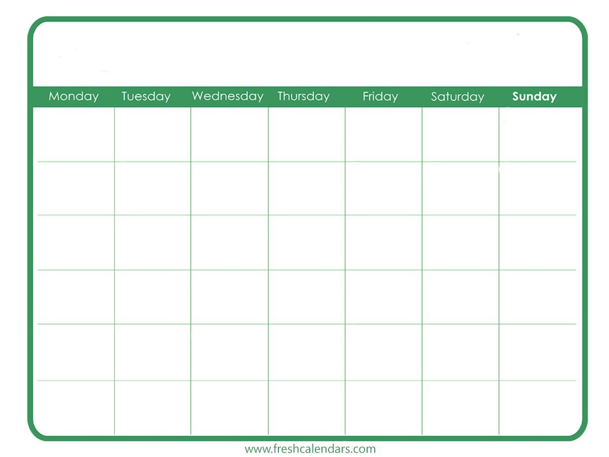 Free Printable Blank Calendar 2020 31 Day Blank Calendar Printable