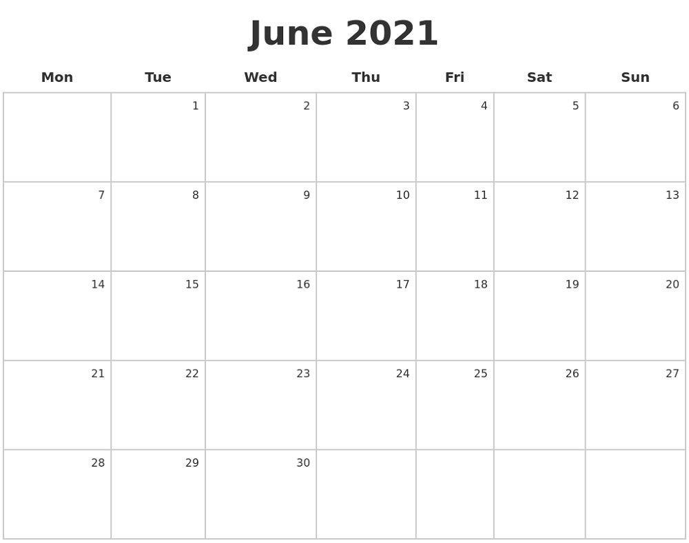 Free Printable Caldender 2021 Monday To Sunday - Calendar Free Printable Monday Sunday Schedule