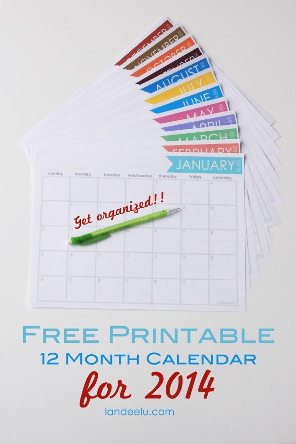 Free Printable Calendar 2014 - Landeelu 12 Month Birthday Calendar Free Printable