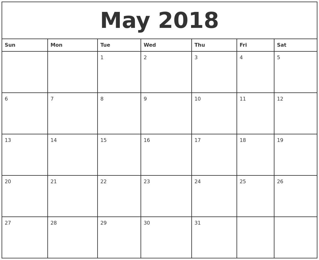 Free Printable Calendar 2018: Free Printable Calendar May Hp Free Calendars To Print