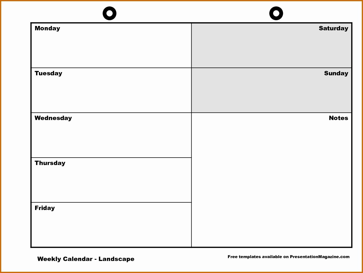 Free Printable Calendar Monday Through Friday | Ten Free Monday Through Friday Planner Template