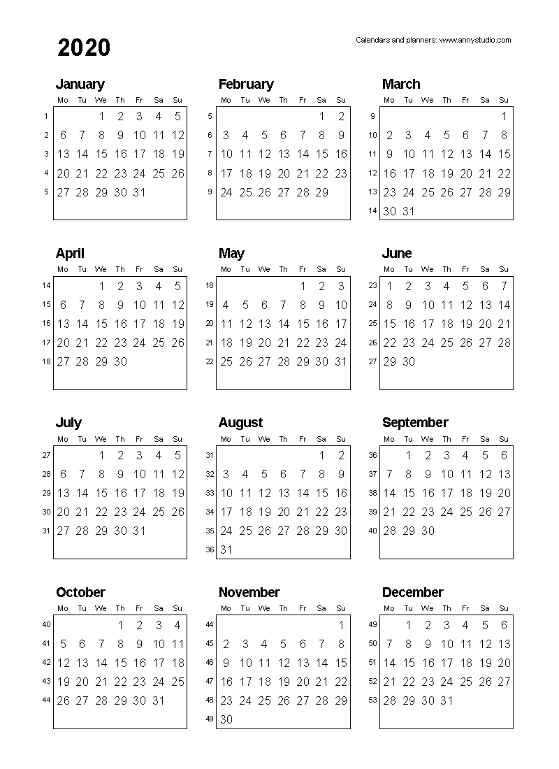 Free Printable Calendars And Planners 2020, 2021, 2022 Calendar Week On On Page