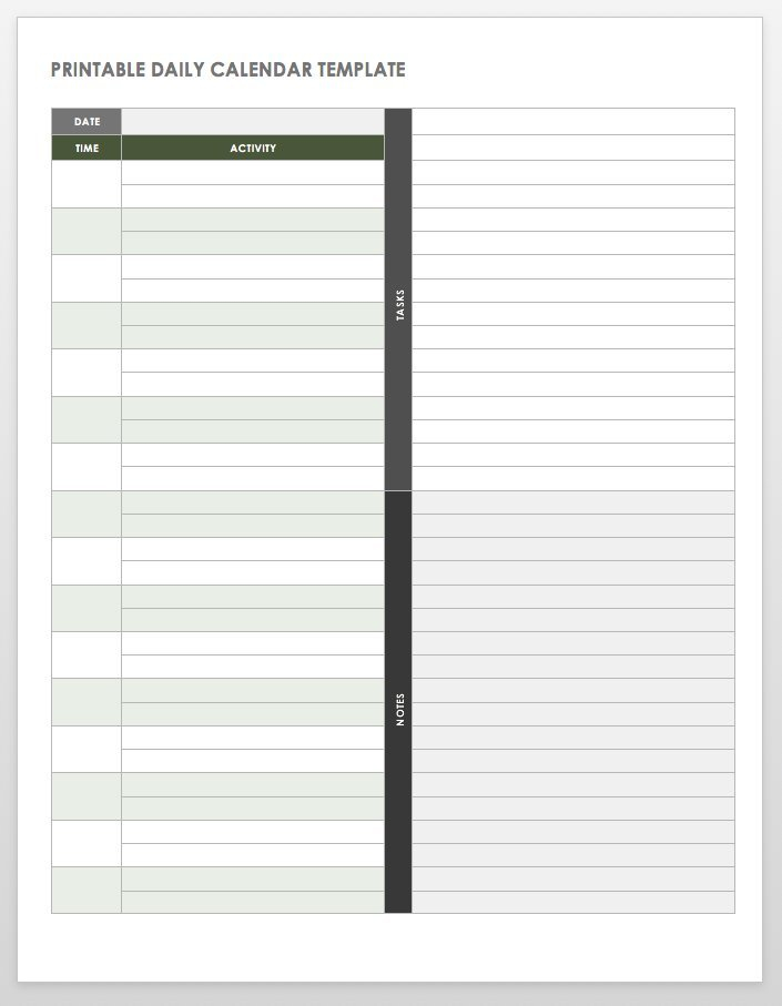 Free Printable Daily Calendar Templates | Smartsheet Free Daily Calendar 1/4 Hour