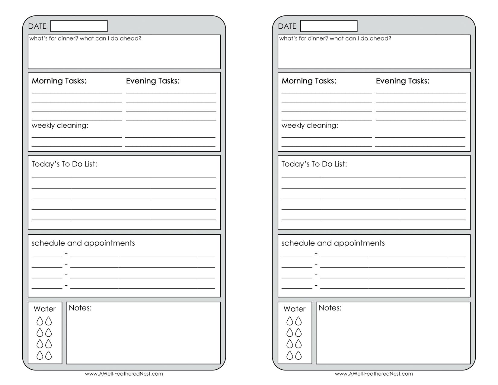 Free Printable Daily Planner Page Half - Calendar Half Sheet Calendar Template Free
