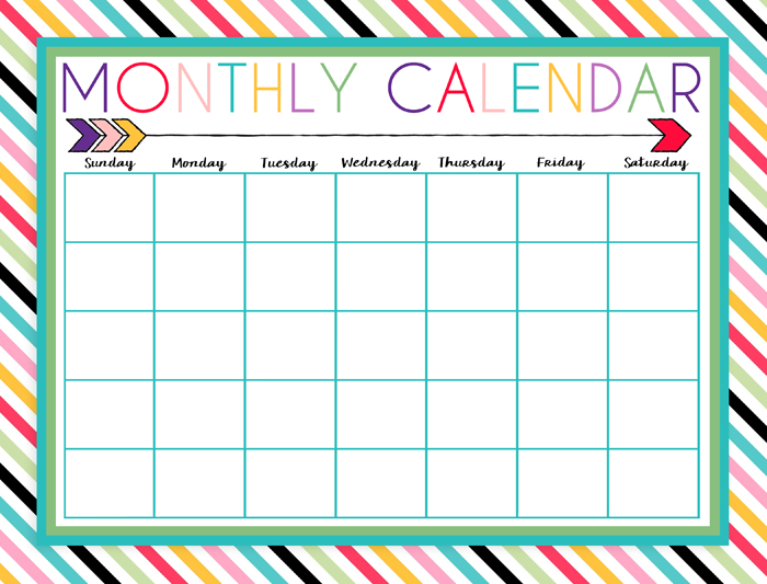 Free Printable Daily, Weekly, And Monthly Calendars   I Blank Calendar To Fill In Activities