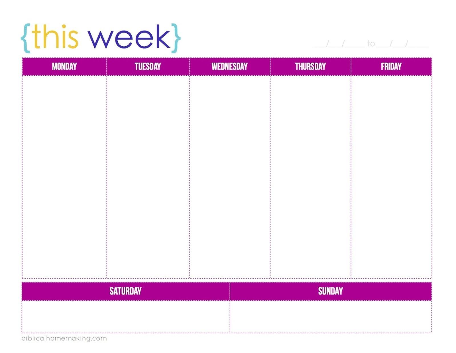 Free Printable M-F Calendar | Ten Free Printable Calendar Mon - Fri Calender Layout Download