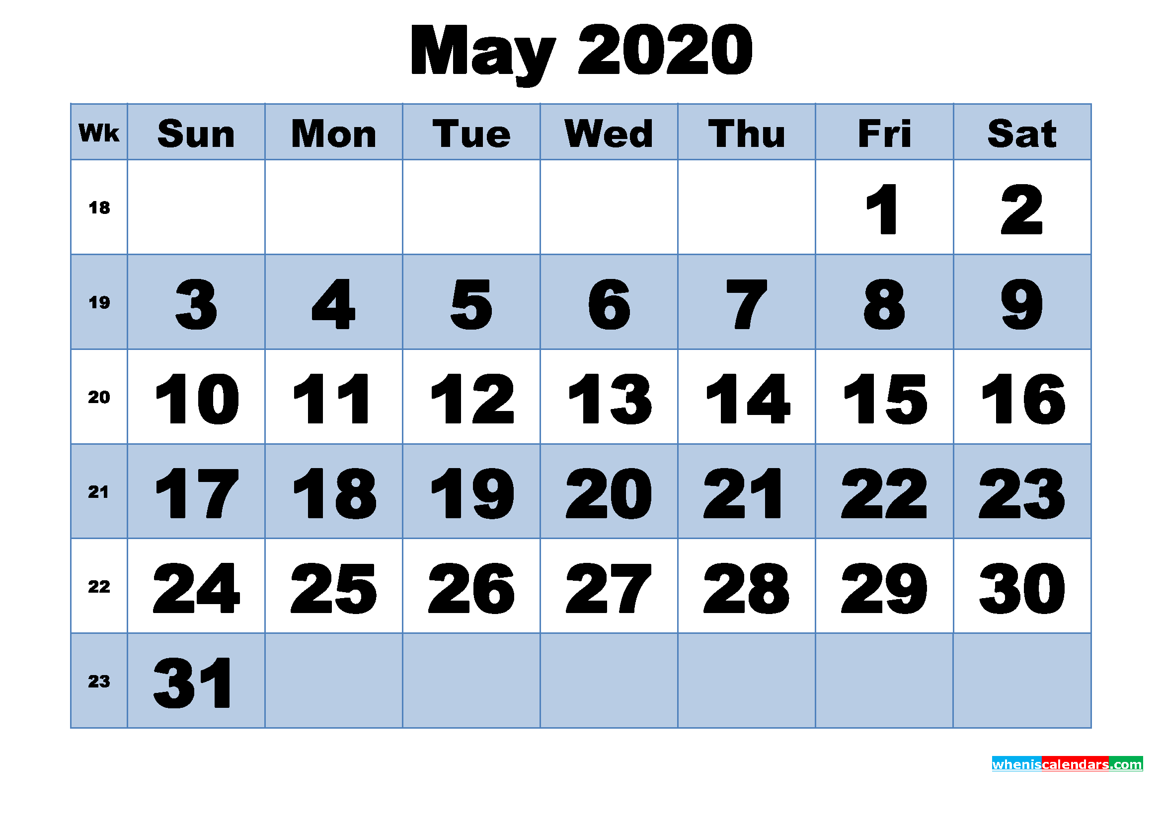 Free Printable May 2020 Calendar With Week Numbers Printable Calendar Numbers 1-31 May