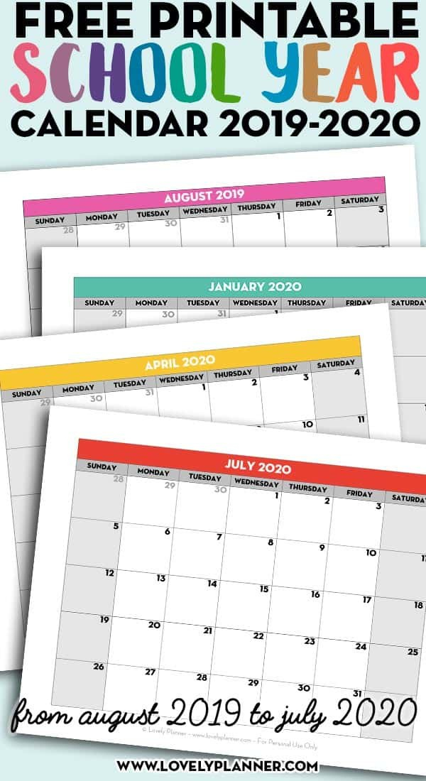 Free Printable School Year Calendar - Monthly Pages 2019 Free 2020 Checkbook Size Calendar Same Size As A Check For The Year