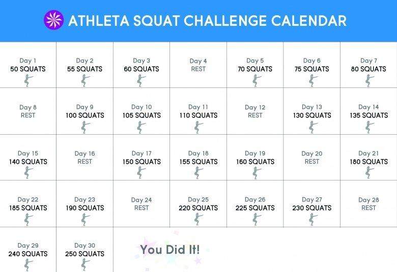 Free Printable Squat Challenge Calendar :-Free Calendar Free Printable Squat Challenge Chart