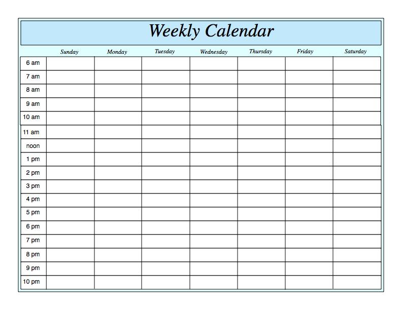 Free Printable Weekly Calendar Template | Weekly Planner Monthly Calednar To Schedule People Into Slots