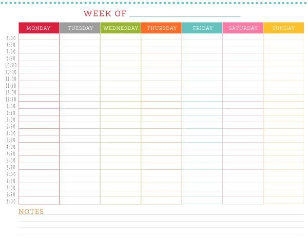 Free Printable Weekly Schedule | Weekly Schedule Printable Monthly Calednar To Schedule People Into Slots
