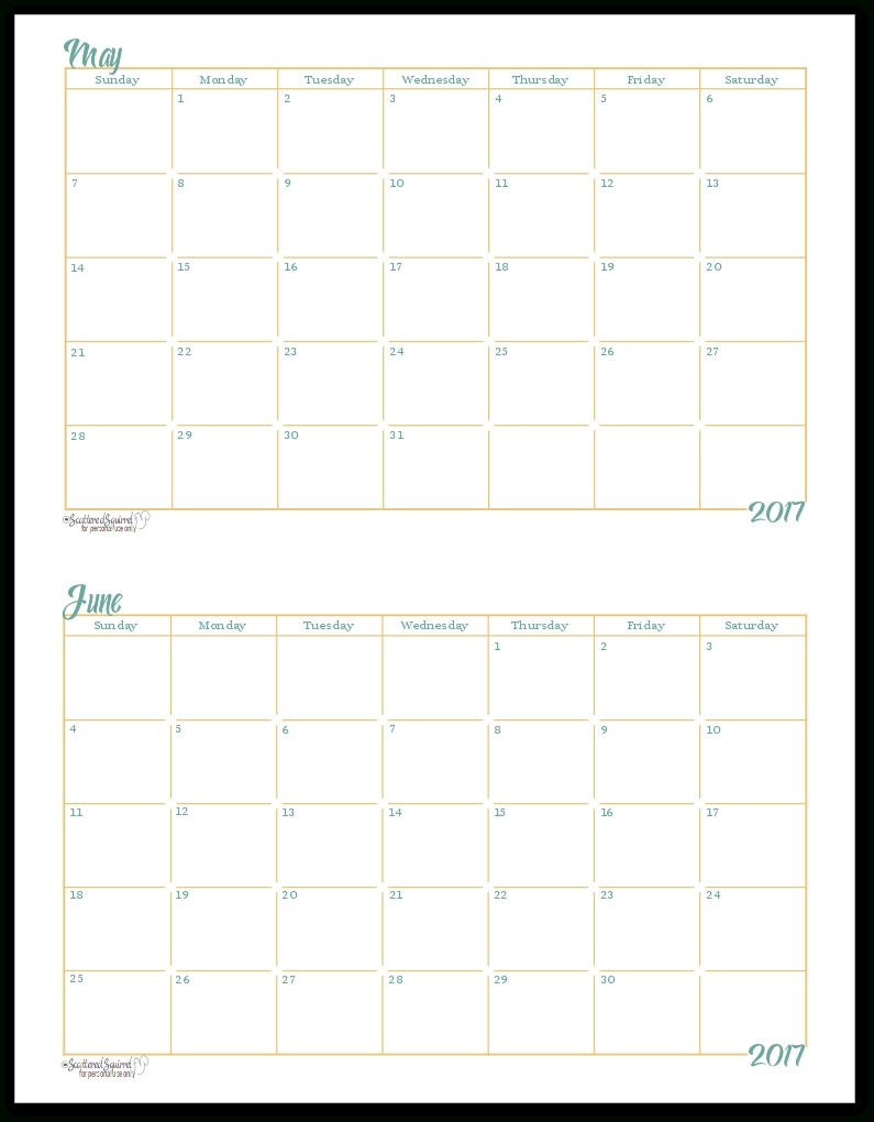 Free Printablehalf Page Calendars 2020 - Calendar Blank Monthly Calendar Page Without The Year