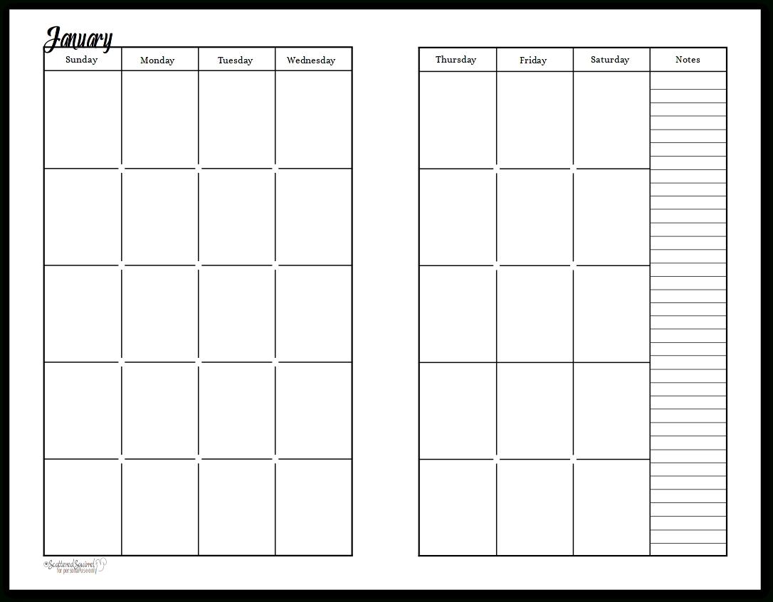 Free Prntable Calander Two Page Spread | Calendar Template Weekly 2 Page Calendar