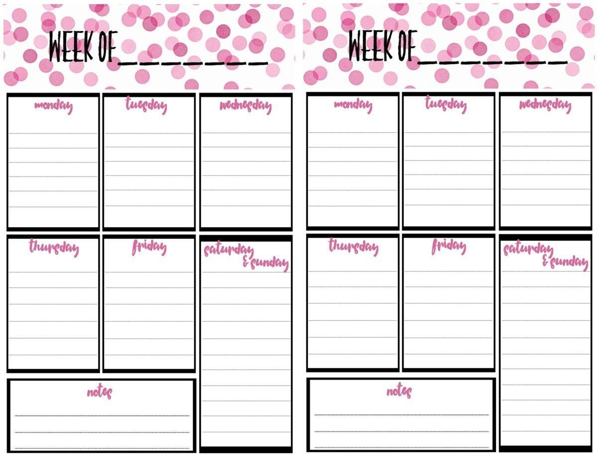 Free Weekly Calendar Planner Printable: Full And Half Size 2 Week Calendar Editable