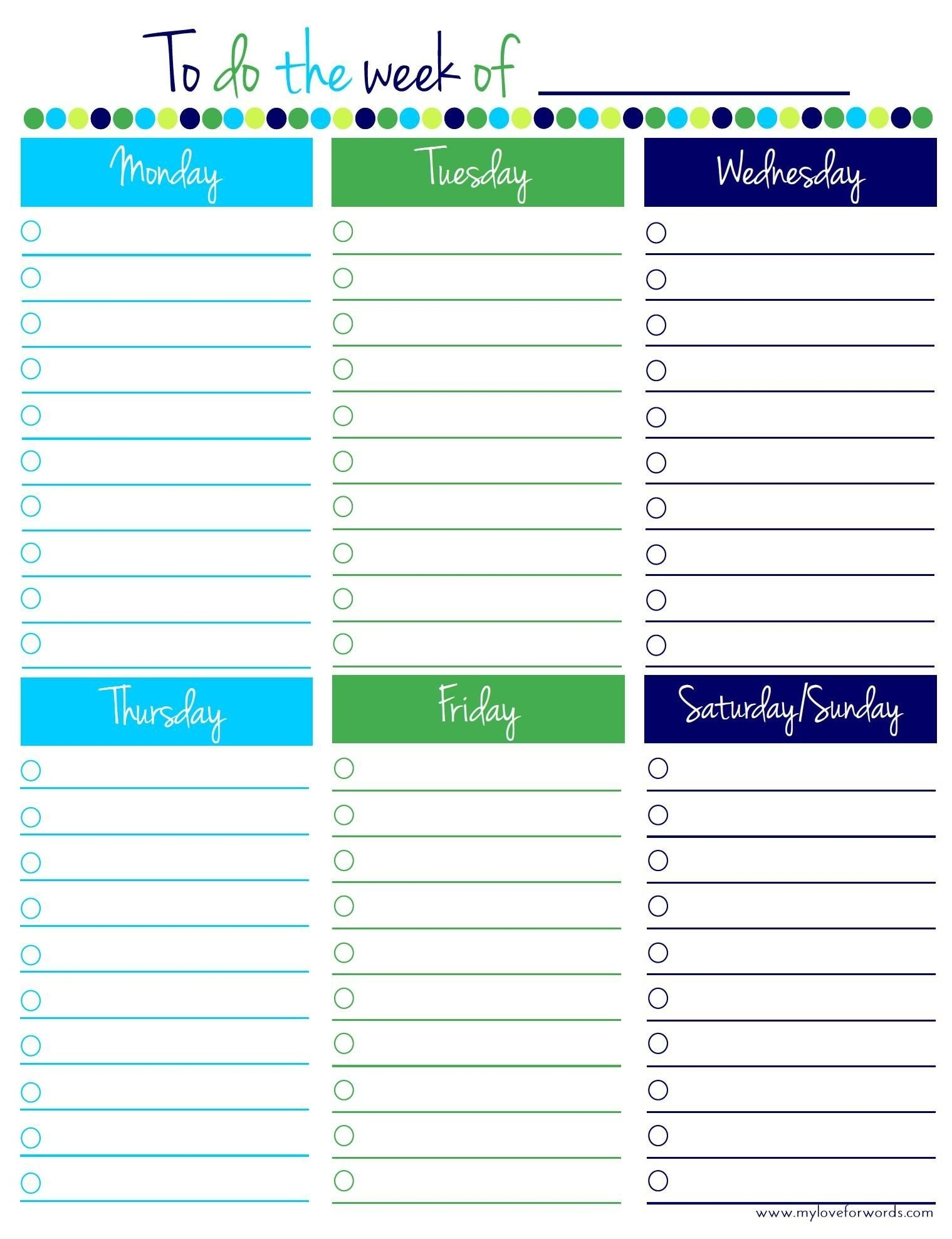 Free Weekly Planner Template Monday To Friday - Template Mon - Fri Calender Layout Download