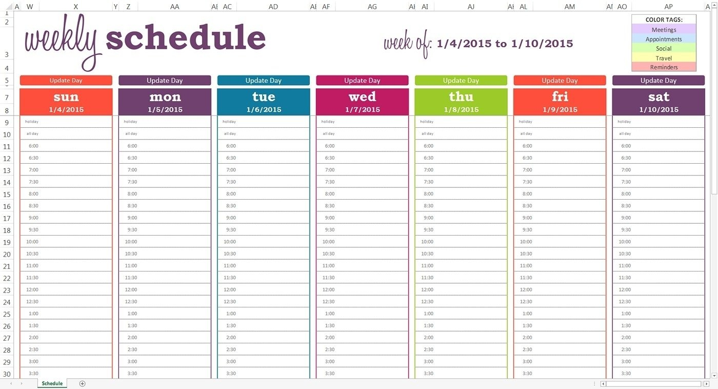 Generic Weekly Calendar With Time Slots - Calendar Free Weekly Planner With Time Slots