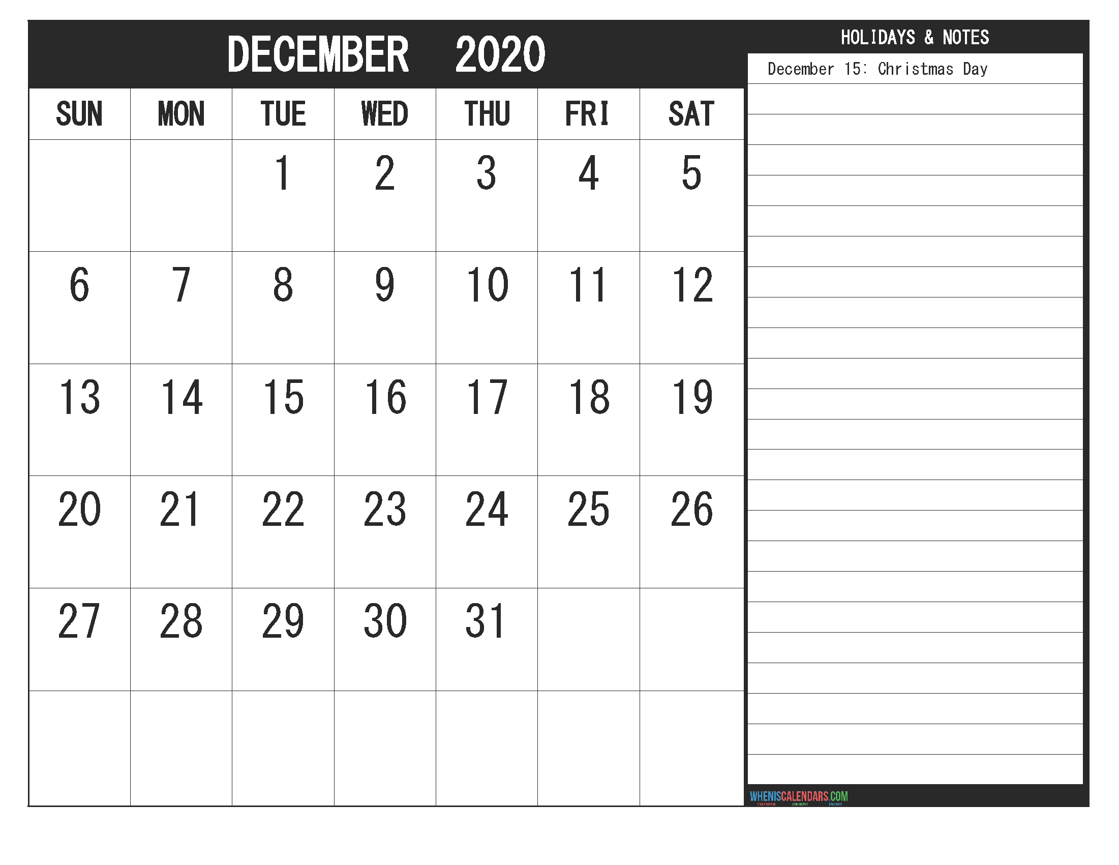 Get December 2020 Calendar With Holidays Printable Printable 2020 Calendar Free Saturday To Friday