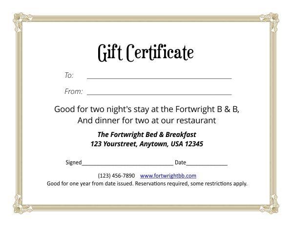 Gift Certificate Template 4-5 Printable Calendar 8 1/2 X 5.5