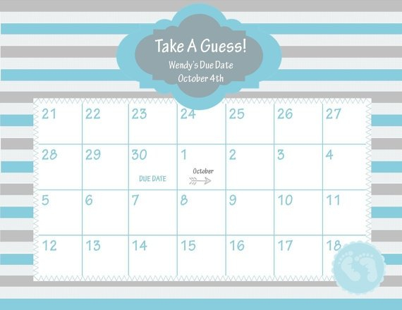 Guess The Due Date Template :-Free Calendar Template Baby Bet Calnder Template