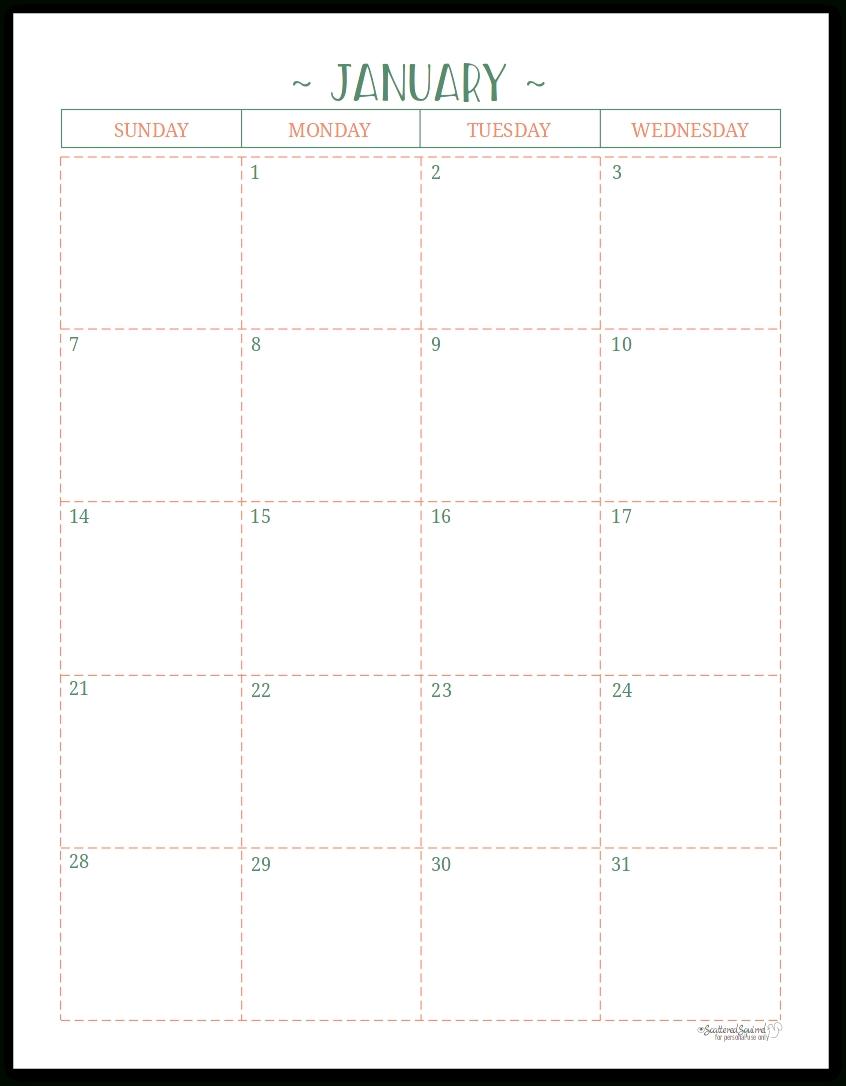Half Page Monthly Calendar Printable - Calendar Half Sheet Calendar Template Free
