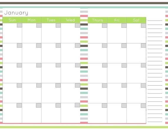 Half Size, Calendar Planner Page Printable, 8.5 X 5.5 Half Sheet Calendar Template Free