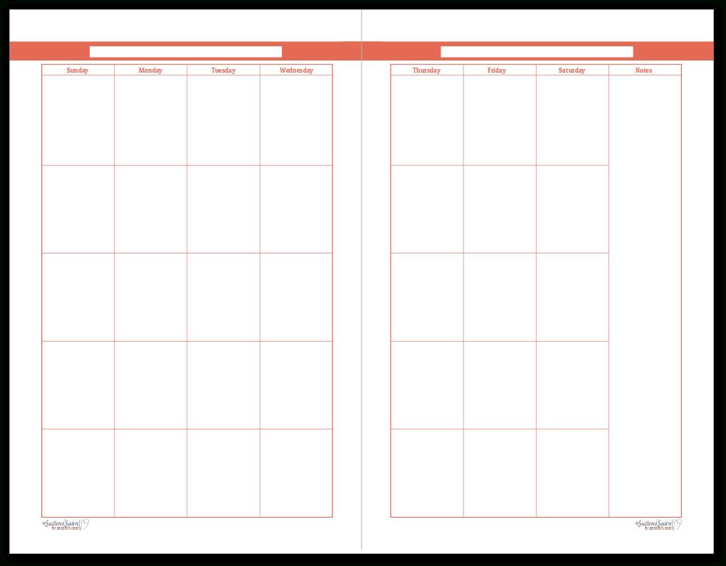 Half-Size Summer Orange 2 Page Monthly Calendar | Personal 8X11 Sie Free April Calander