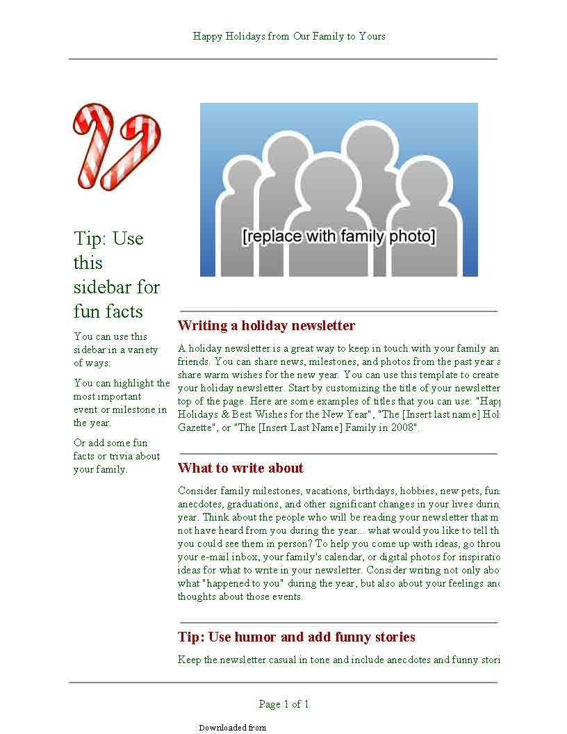 Holiday Newsletter Template 1 Pdf - Pdf Format | E E Newsletter Content Plan Template