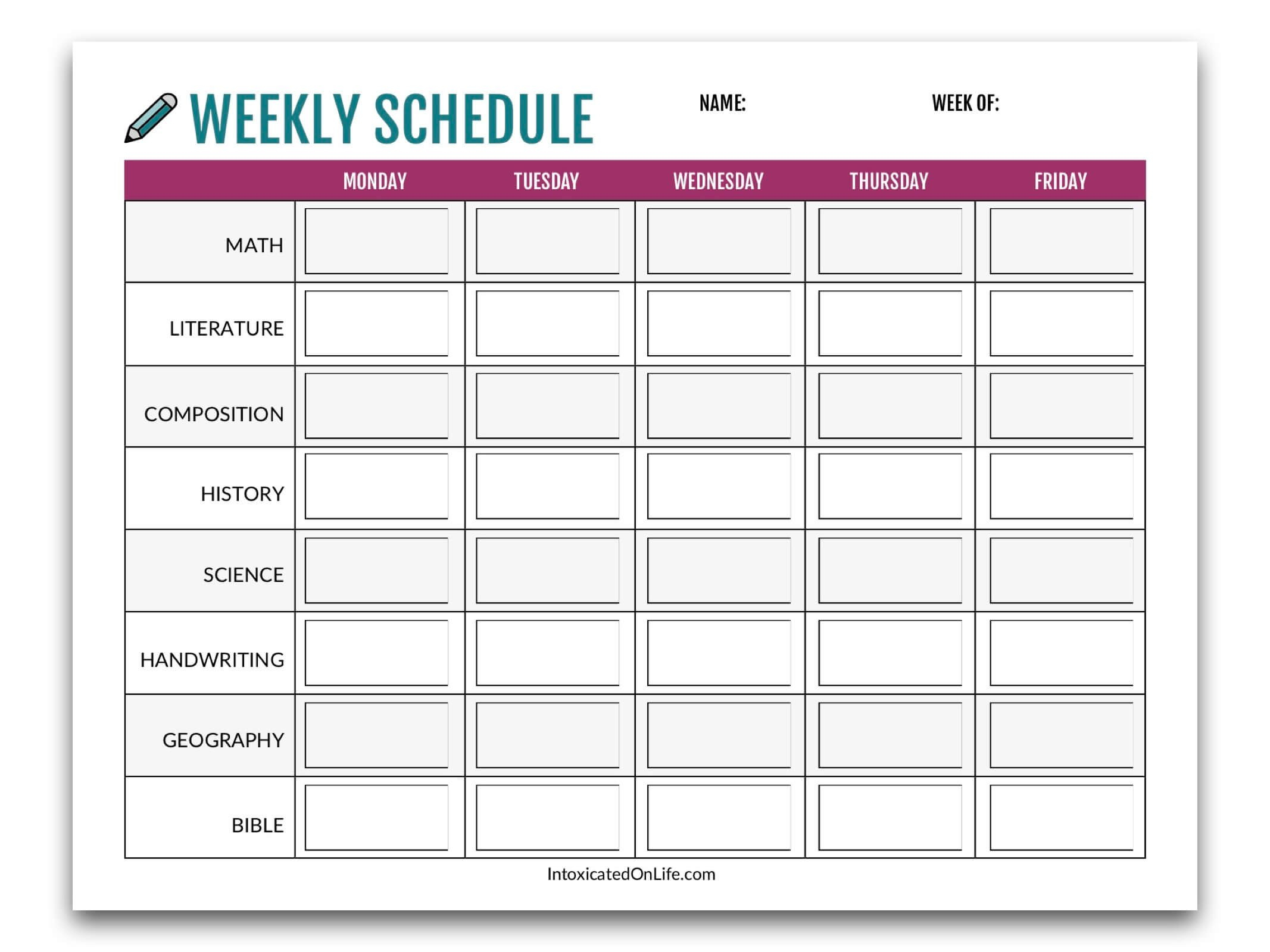 Homeschool Planning 101: Creating A Sane Schedule School Time Schedule Exercise Fill Blanks