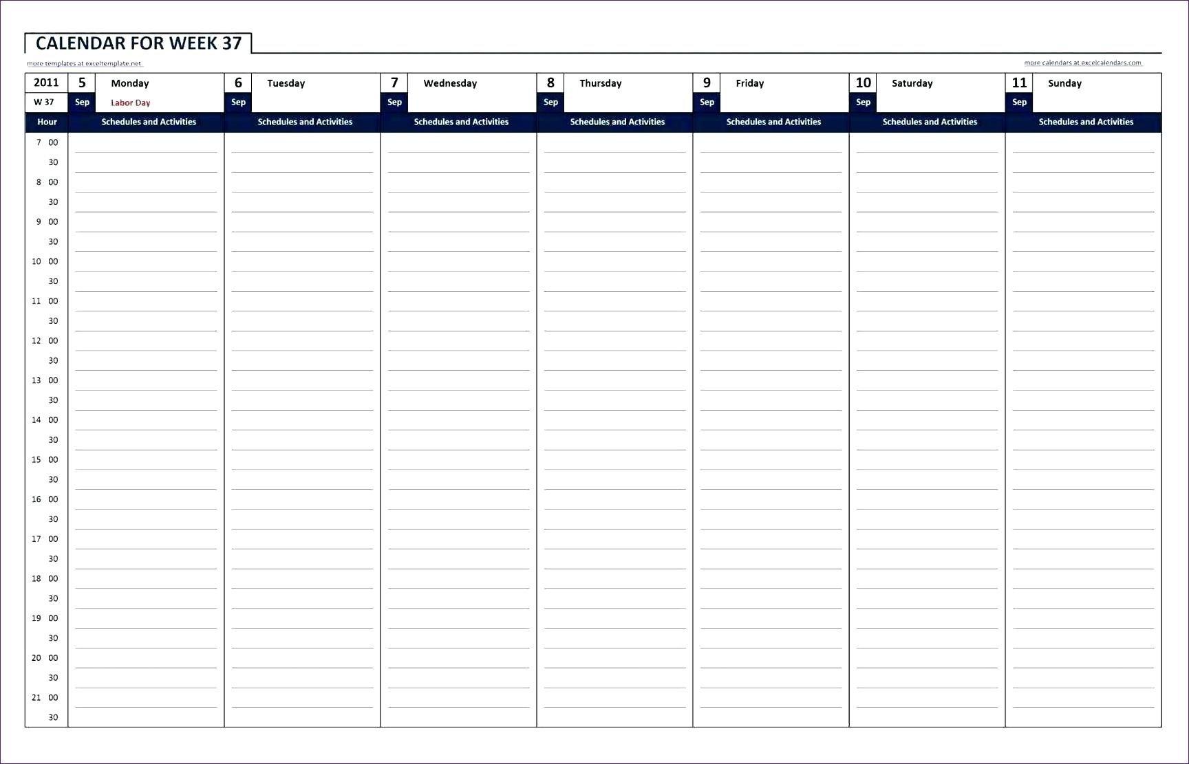 Hourhour Blank Calendars - Calendar Inspiration Design Daily Hour By Hour Printable Calendar