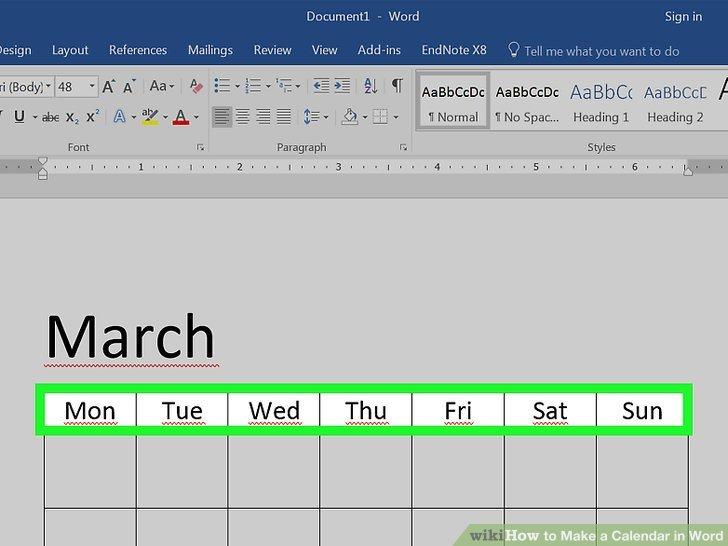 How To Make A Calendar In Word (With Pictures) - Wikihow Calendar I Can Modify