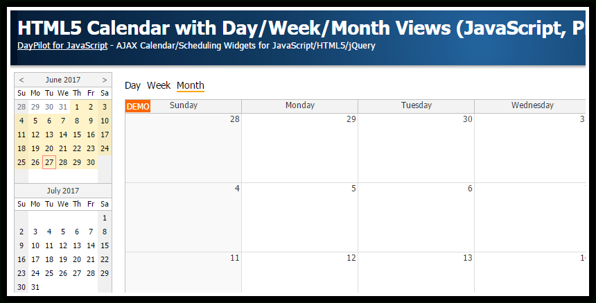 Html5 Calendar With Day/Week/Month Views (Javascript, Php Monthlyo 5 Day Calendar