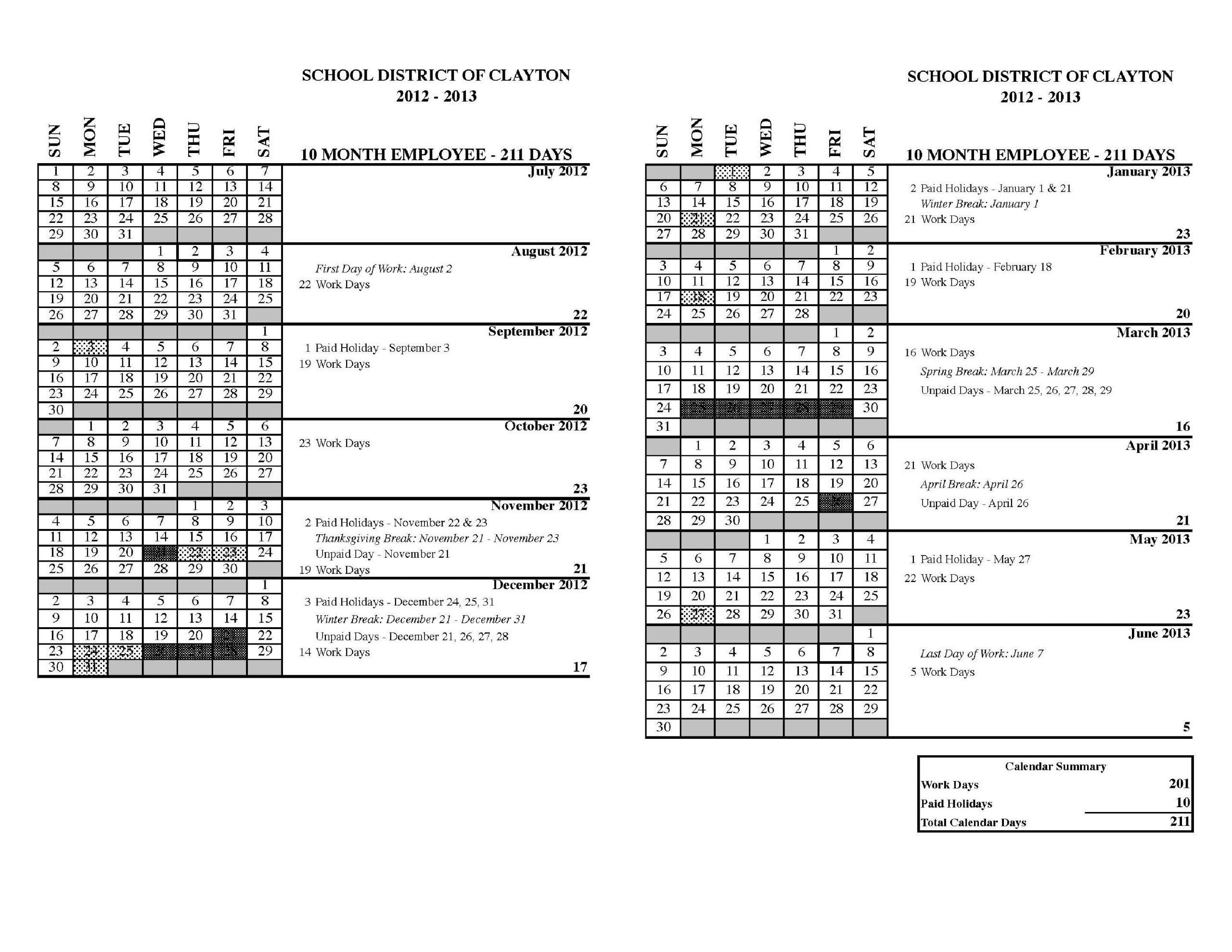 Human Resources / Calendars Human Resource Vacation Calendars