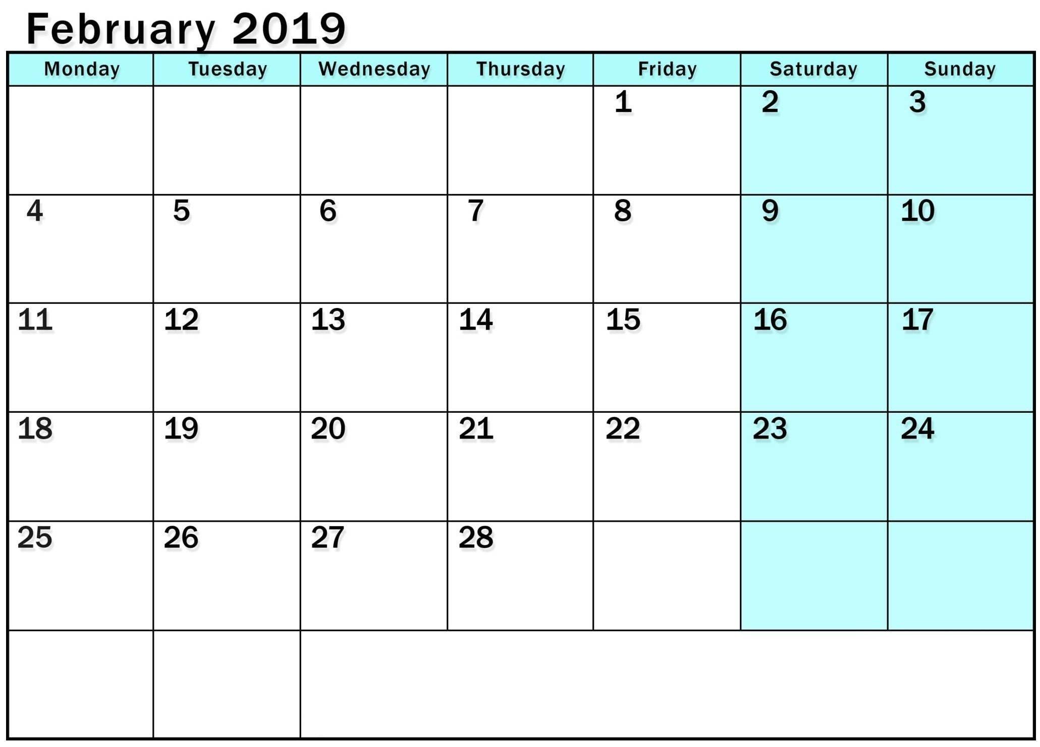 Image Of Weekly Calendar Monday Through Sunday | Calendar Monday To Sunday Calendar Template Free