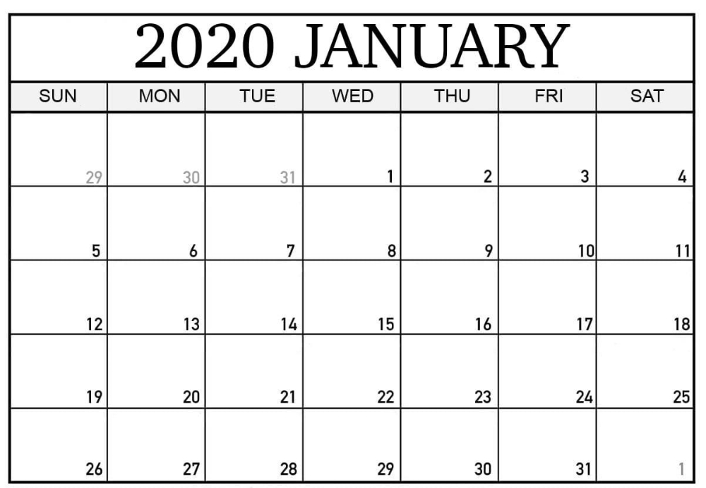 Images For Free Printable January 2020 Calendar | 12 Month 12 Month Calendar Editable Templates