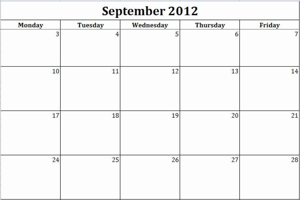 Inspirational Monday Through Friday Schedule Template In Blank Monday Through Sunday Schedule