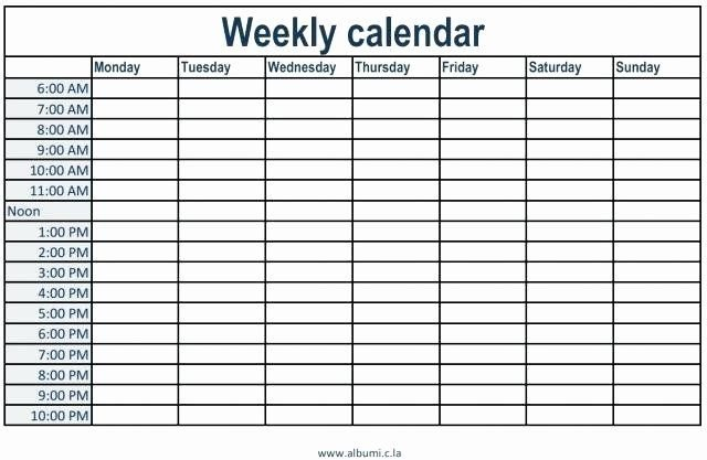 Inspirational Monday Through Friday Schedule Template In Monday To Friday Schedule Template With Four Weeks