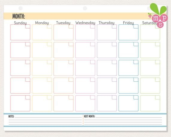 Instant Download Monthly Calendar 3-Hole Punch Template Monthly Calendar On 8 X 11 Sheet